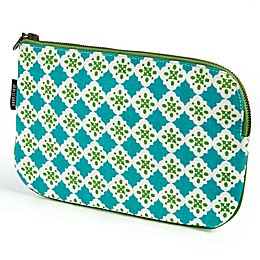 Keep Leaf Flat Cosmetic Bag in Tiles Print