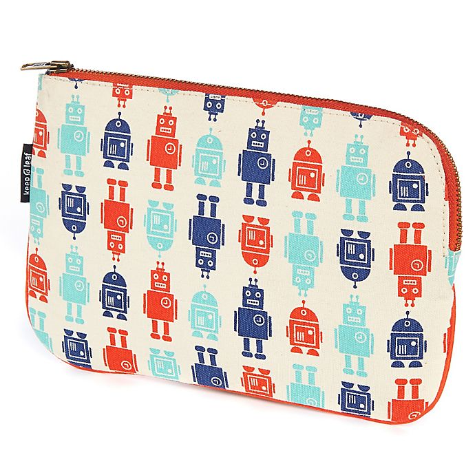 Alternate image 1 for Keep Leaf Flat Cosmetic Bag in Robot Print
