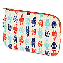 Keep Leaf Flat Cosmetic Bag in Robot Print