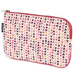 Keep Leaf Flat Cosmetic Bag in Hearts Print