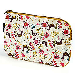 Keep Leaf Flat Cosmetic Bag in Birds Print