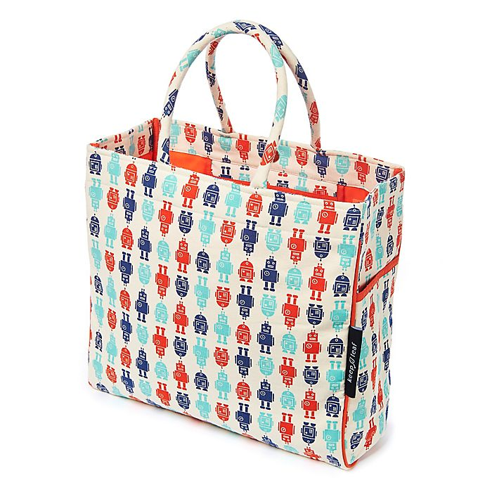 Alternate image 1 for Keep Leaf Robot Print Organic Cotton Tote Bag in Blue/Red