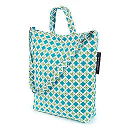 Keep Leaf Tiles Print Organic Cotton Shoulder Tote Bag in Teal/Green