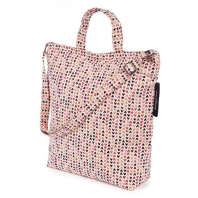 Alternate image 1 for Keep Leaf Hearts Print Organic Cotton Shoulder Tote Bag in Pink
