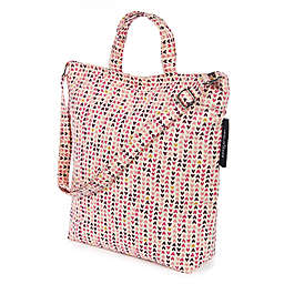 Keep Leaf Hearts Print Organic Cotton Shoulder Tote Bag in Pink
