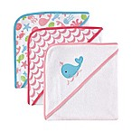 Babyvision Luvable Friends 3-Pack Embroidered Hooded Towel Set in Pink