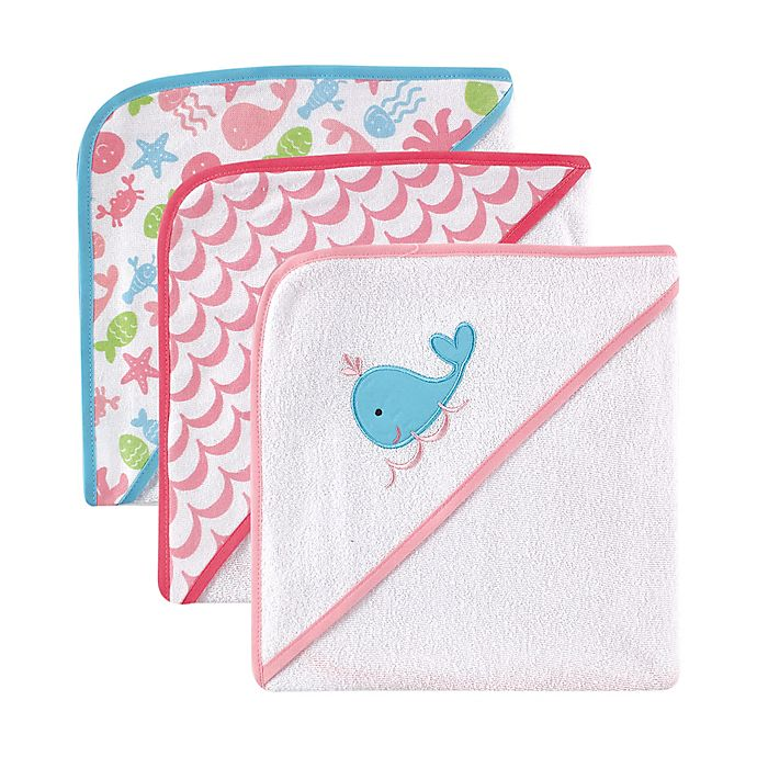 Alternate image 1 for Babyvision Luvable Friends 3-Pack Embroidered Hooded Towel Set in Pink
