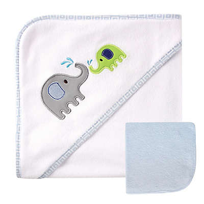BabyVision® Luvable Friends® Elephant Hooded Towel and Washcloth Set in Blue