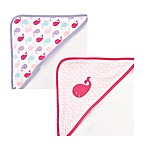 BabyVision® Luvable Friends® 2-Pack Whale Hooded Towel in Pink