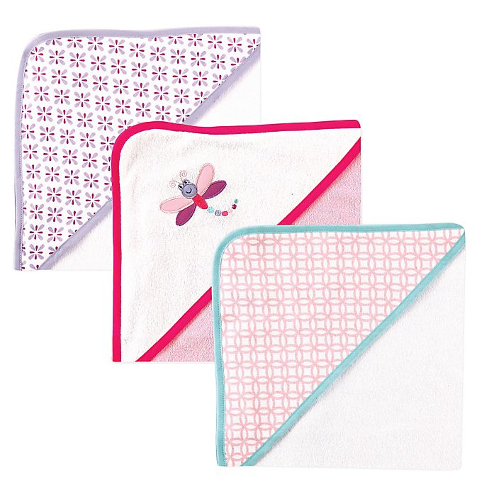 Alternate image 1 for BabyVision® Luvable Friends® 3-Pack Dragonfly Hooded Towel in Pink