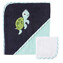Baby Vision® Luvable Friends® Turtle Hooded Towel and Washcloth Set in Blue