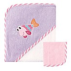 Baby Vision® Luvable Friends® Fish Hooded Owl and Washcloth Set in Purple