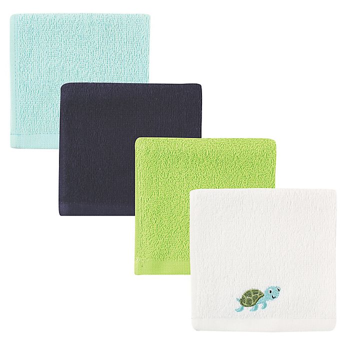 Alternate image 1 for BabyVision® Luvable Friends® 4-Pack Turtle Woven Washcloth Set in Blue