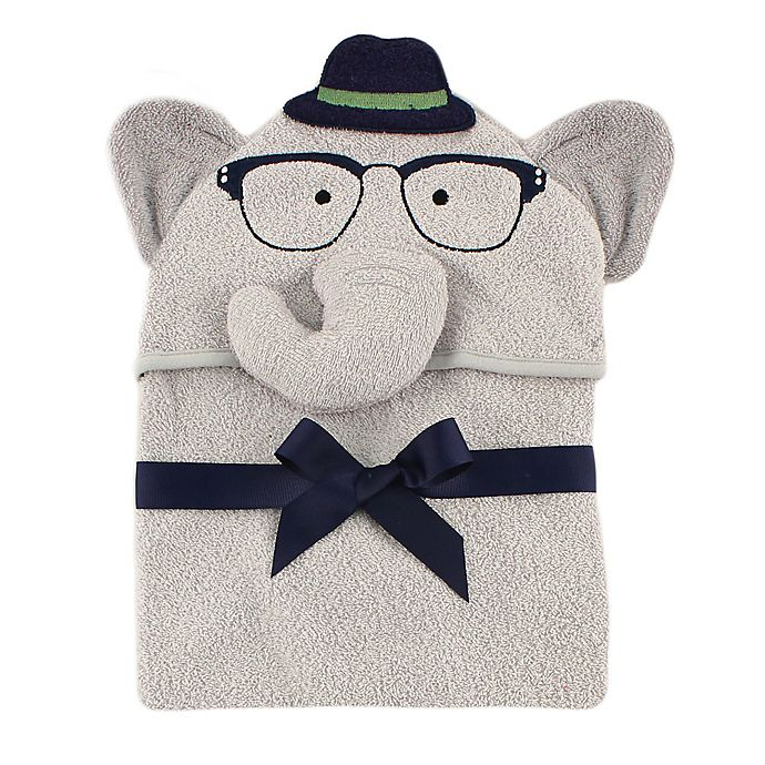 Alternate image 1 for BabyVision® Luvable Friends® Smart Elephant Hooded Towel in Grey