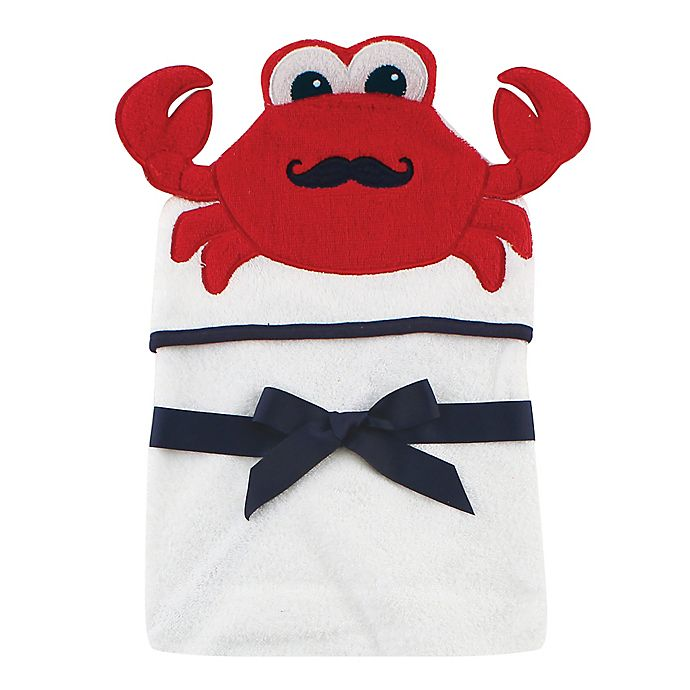Alternate image 1 for Baby Vision® Hudson Baby® Crab Hooded Towel in White
