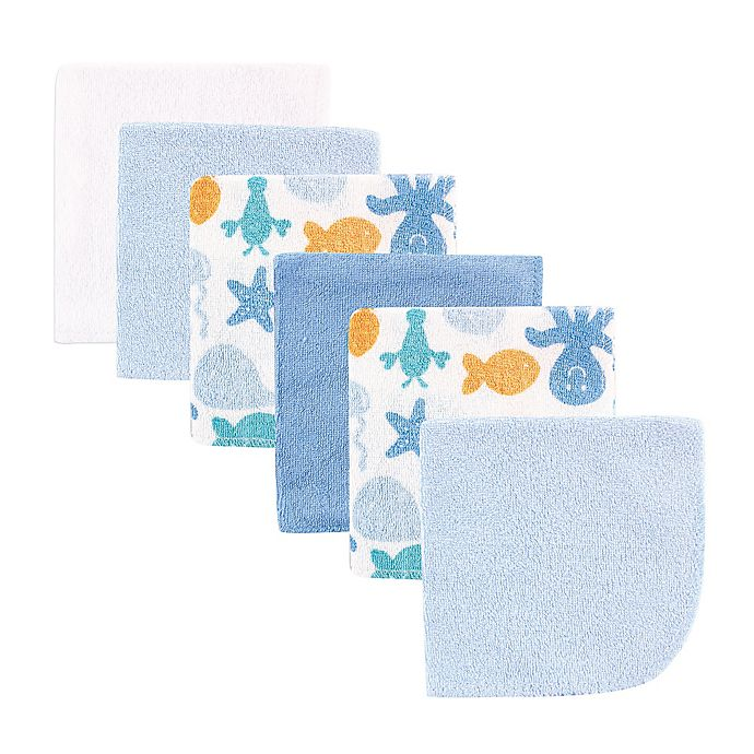 Alternate image 1 for BabyVision® Luvable Friends® 6-Pack Octopus Washcloth Set in Blue