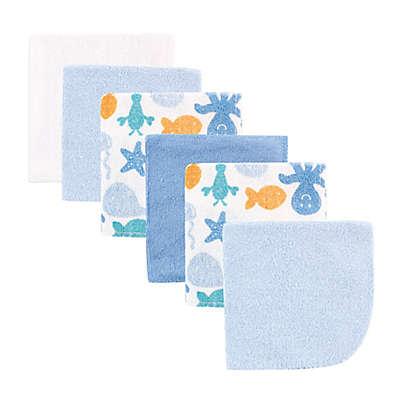 BabyVision® Luvable Friends® 6-Pack Octopus Washcloth Set in Blue