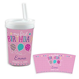 """""""My First Birthday"""" Sippy Cup in Pink"""
