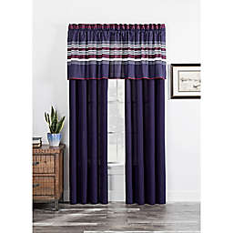 Acadia Window Curtain Panel Pair and Valance in Navy
