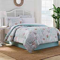 Muriel Twin Comforter Set in Aqua/Grey