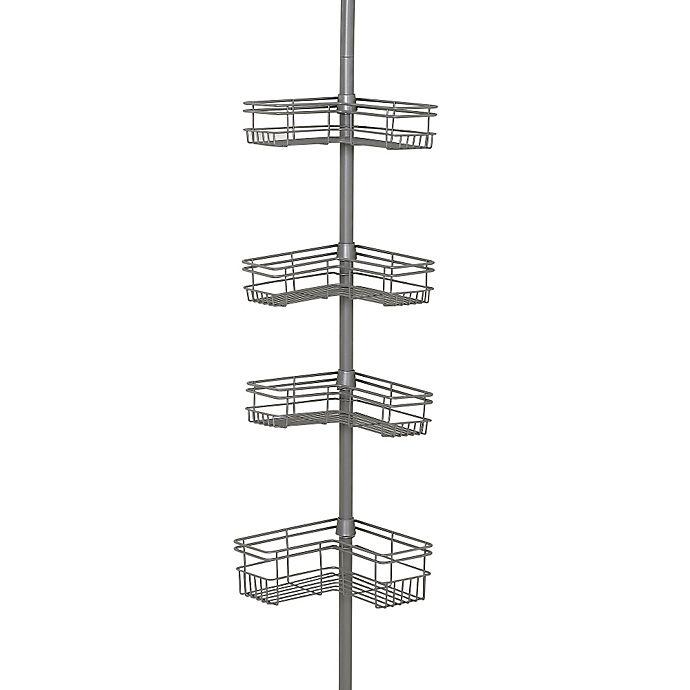 Alternate image 1 for Zenna Home® Tension Corner Pole Shower Caddy in Satin Nickel