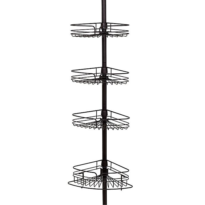 Alternate image 1 for Zenna Home® Tension Corner Pole Shower Caddy in Bronze