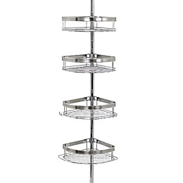 Zenna Home® Tension Corner Pole Shower Caddy in Chrome
