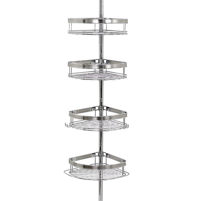 Tension Corner Pole Shower Caddy In