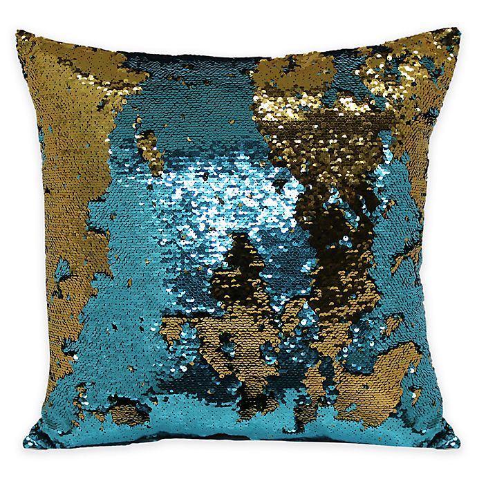 Alternate image 1 for Mermaid Sequin Throw Pillow in Teal/Bronze