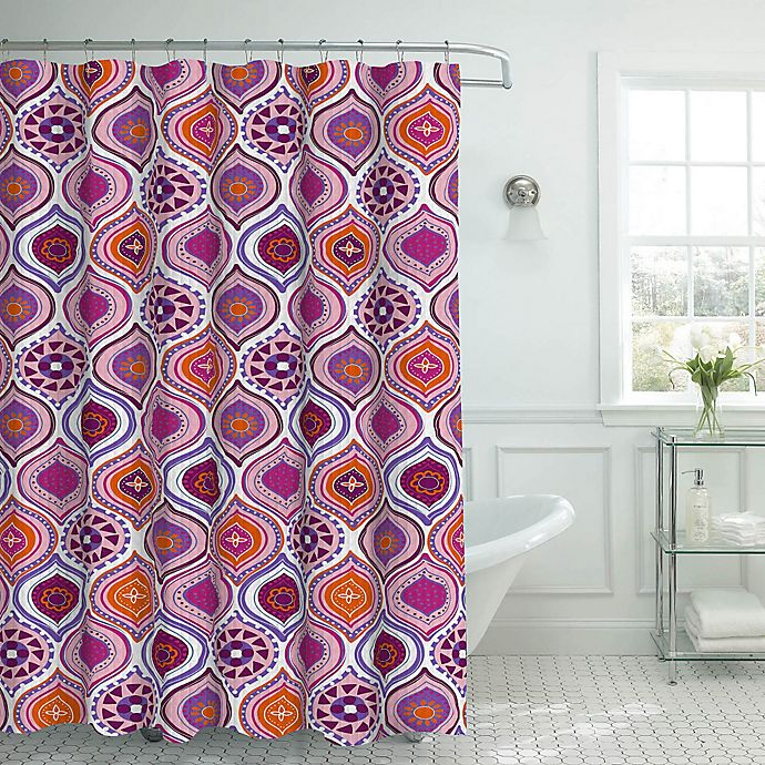Alternate image 1 for Olina Shower Curtain with Rings in Pink
