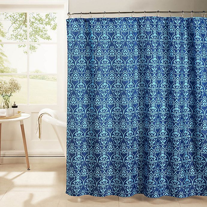 Alternate image 1 for Melissa Oxford Weave Textured Shower Curtain with Rings in Indigo