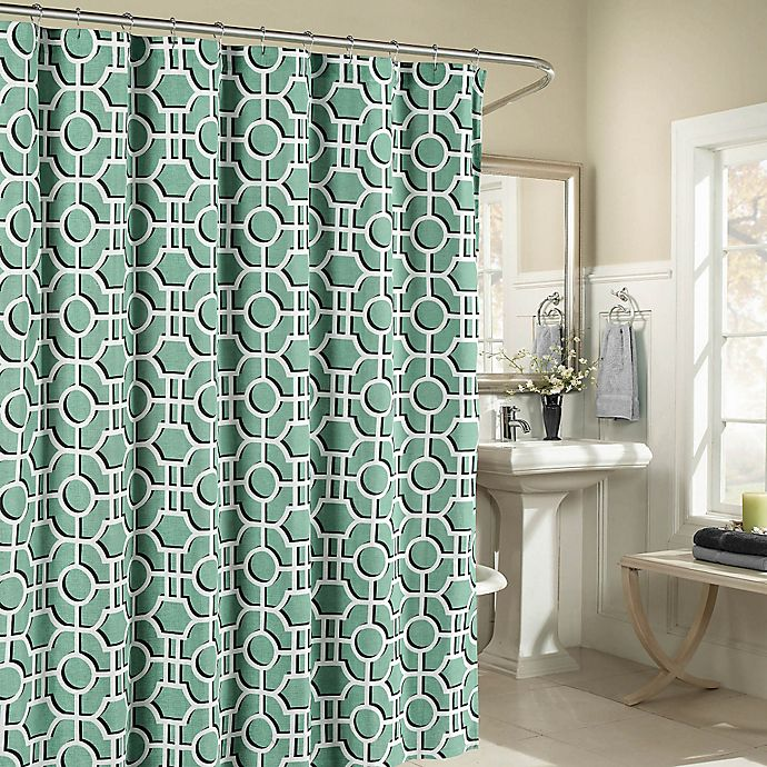 Alternate image 1 for Lenox Cotton Shower Curtain in Teal