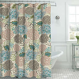 Sonrie Shower Curtain with Hooks in Beige/Blue