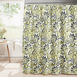 Diamond Weave Textured Shower Curtain with Rings in Lemon