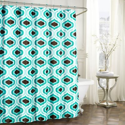 Faux Linen Textured Shower Curtain With Rings In Turquoise Espresso