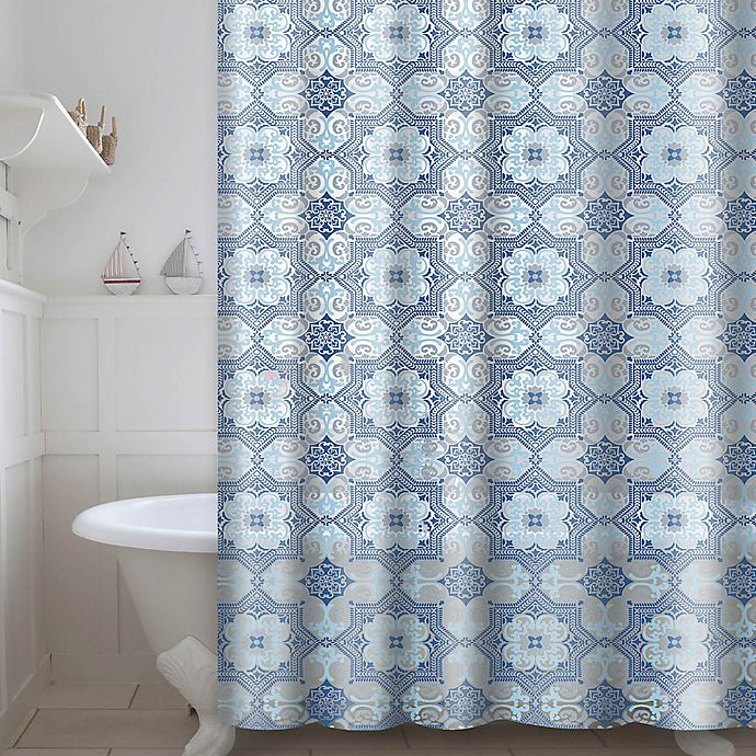 Esha Printed Peva Shower Curtain With Rings In Blue Bed
