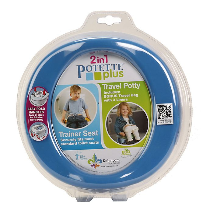 Alternate image 1 for Potette® Plus 2-in-1 Travel Potty and Trainer Seat in Blue