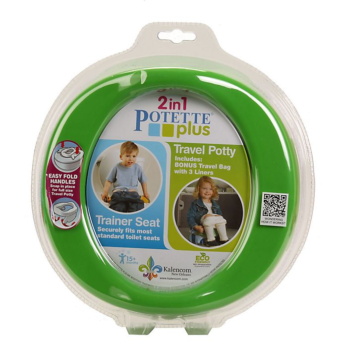 Alternate image 1 for Potette® Plus 2-in-1 Travel Potty and Trainer Seat in Green
