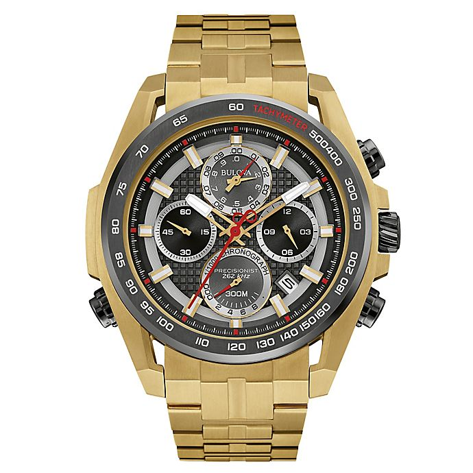 Alternate image 1 for Bulova Precisionist Men's 48.3mm Black Dial UHF Chronograph Watch in Goldtone Stainless Steel