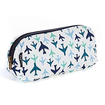 Keep Leaf Plane Print Cosmetic Bag in Blue
