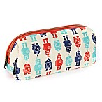 Keep Leaf Robot Print Cosmetic Bag in Blue/Red