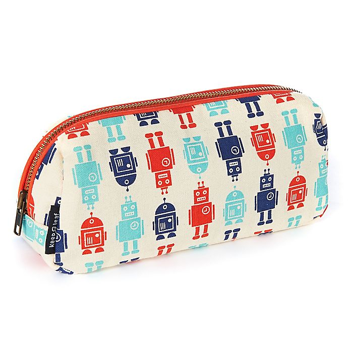 Alternate image 1 for Keep Leaf Robot Print Cosmetic Bag in Blue/Red