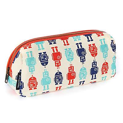 Keep Leaf Robot Print Cosmetic Bag in Blue/Red