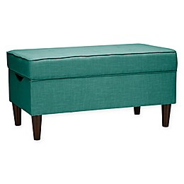 Skyline Furniture Raven Tufted Storage Bench in Linen Laguna