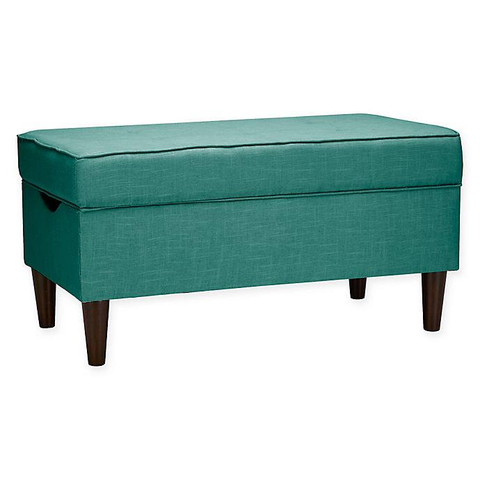 Amazing Skyline Furniture Raven Tufted Storage Bench In Linen Laguna Caraccident5 Cool Chair Designs And Ideas Caraccident5Info