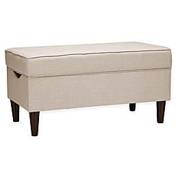 Skyline Furniture Raven Tufted Storage Bench in Linen Talc