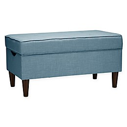 Skyline Furniture Raven Tufted Storage Bench in Linen Denim