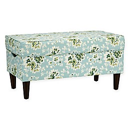 Skyline Furniture Katy Storage Bench in Cecilia Sea Green