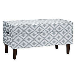 Skyline Furniture Katy Storage Bench in Ikat Fret Pewter