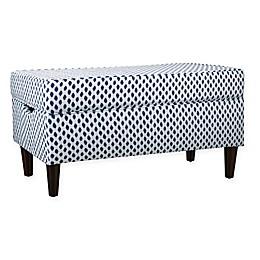 Skyline Furniture Katy Storage Bench in Sahara Midnight White Flax